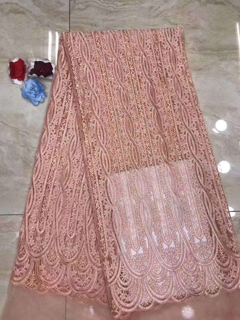 Latest french Lace Fashion nigerian lace fabrics for wedding 2019 african french lace fabric high quality with stones DP311