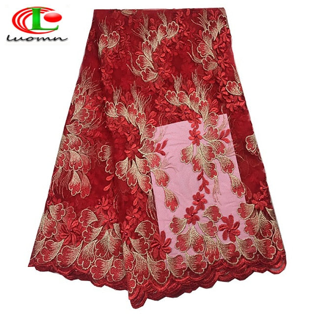 Latest red color african lace fabric 2018 high quality african tulle lace fabric luxury design with Beads
