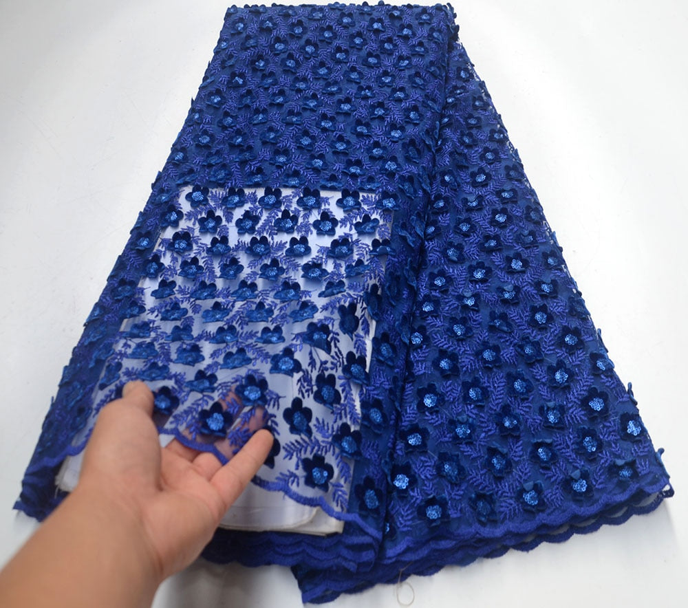 Latest style (5yards/pc) High quality Beautiful African lace fabric soft Royal blue velvet 3D applique lace fabric with sequins for party dress