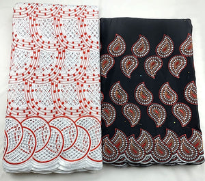Latest swiss lace fabric And George lace fabric 2020 Fashion African Cotton Swiss punching Lace Fabric 2.5+2.5 yard George lace