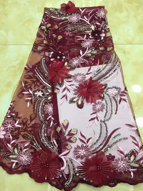 Latest wine red African Net Lace Fabric Applique With Beads Good Quality French Tulle 3d Lace Fabric For Party Dress