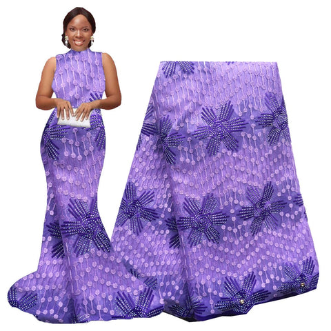 Image of Lavender Purple African milk silk lace fabric Embroidered Nigerian Tulle Lace Fabric With Plenty Stones For Wedding Dresses