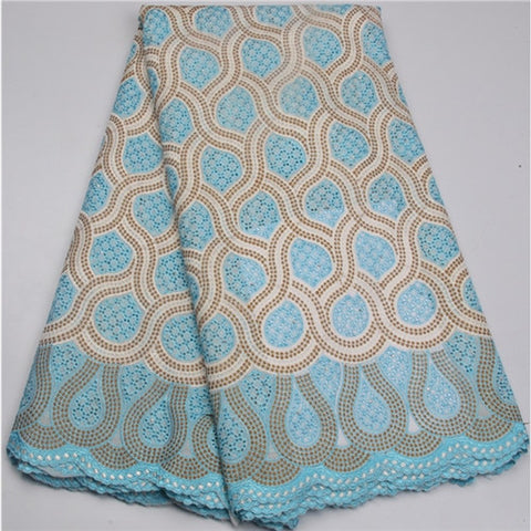 Image of Light Blue African swiss voile lace in switzerland,New African cotton material swiss voile lace high quality for dress NA586B-2