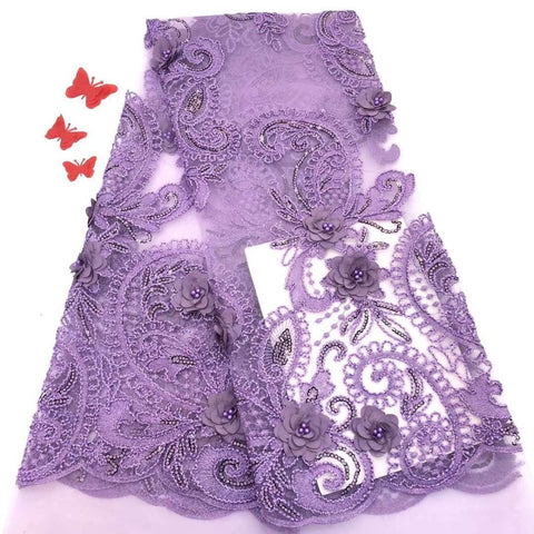Image of Lilac 3D lace fabric with beads and sequins high quality African french tulle lace fabric 2019 bridal Nigerian lace fabrics