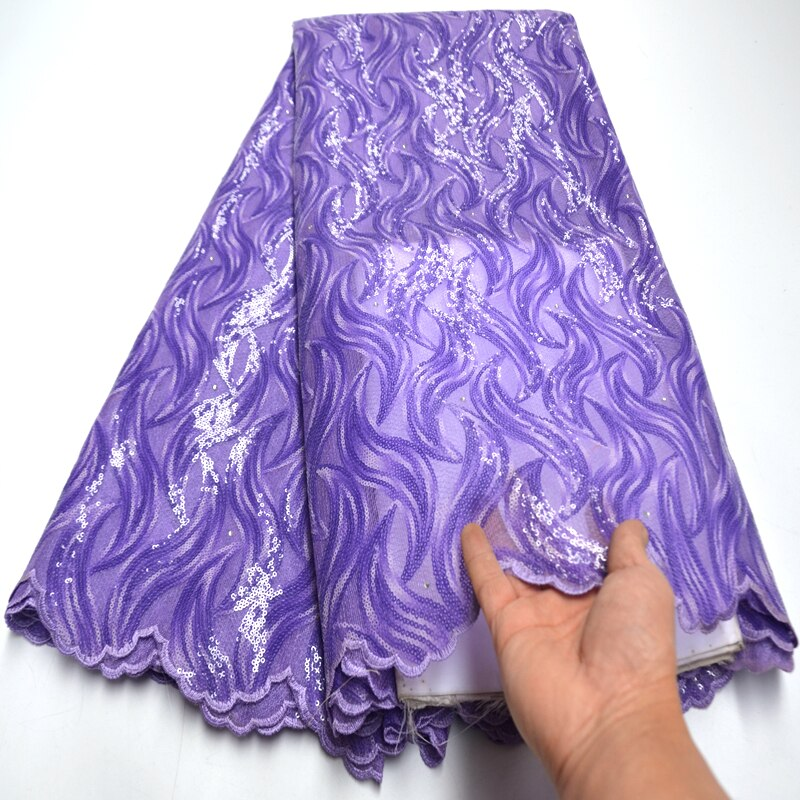 Lilac Purple embroidery African french lace Couple lace tulle fabric with sequins 2020 high quality organza lace 5 yards