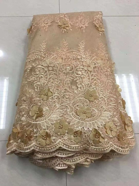 Luxury African Embroidery 3D Flower Lace Handmade Beaded Tulle Lace Fabric For Onion Wedding Party Dresses Good Quality Z93