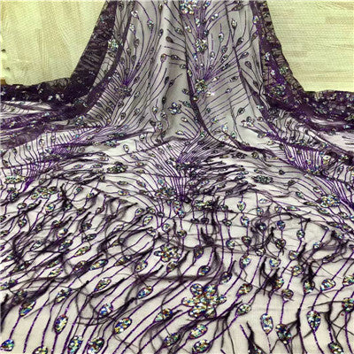 Image of Luxury African Wedding Dress purple 3d Dress Lace Feather Embroidery French Tulle Lace Sequins Lace Fabric For Women F1280