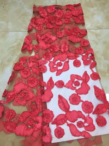 Image of Luxury Fabric African Lace Fabric High Quality Handmade Embroidery red 3d Lace Fabric For African Bridal Lace PGC
