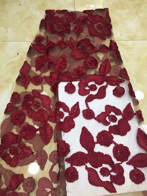 Luxury Fabric African Lace Fabric High Quality Handmade Embroidery red 3d Lace Fabric For African Bridal Lace PGC