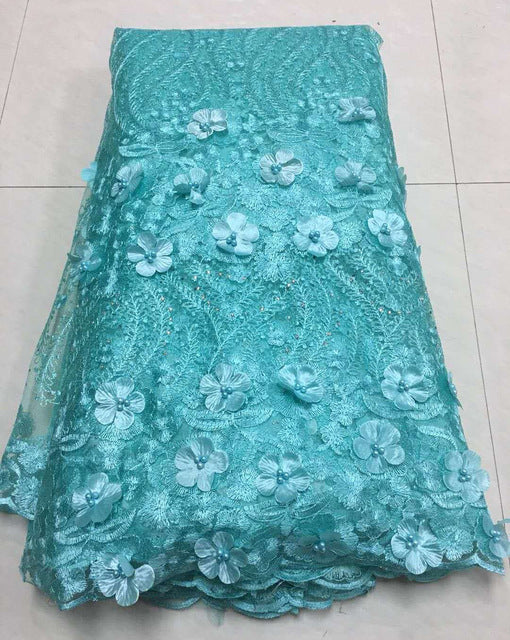 Luxury Royal Green French 3D Applique Lace Embroidered African Tulle Lace Fabrics With Beads High Quality For Evening Z129