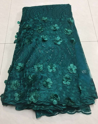 Image of Luxury Royal Green French 3D Applique Lace Embroidered African Tulle Lace Fabrics With Beads High Quality For Evening Z129