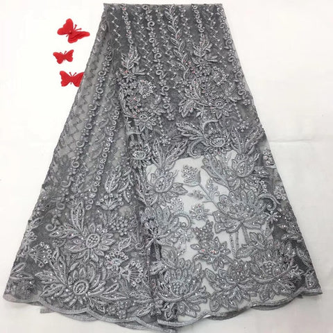Image of Luxury french lace with beads 3d lace fabric handmake sequins embroidered appliques green african lace for wedding