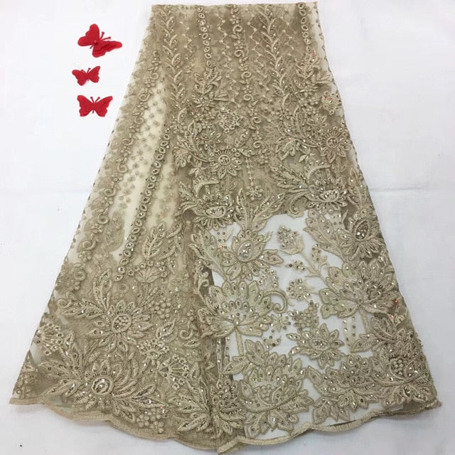 Luxury french lace with beads 3d lace fabric handmake sequins embroidered appliques green african lace for wedding