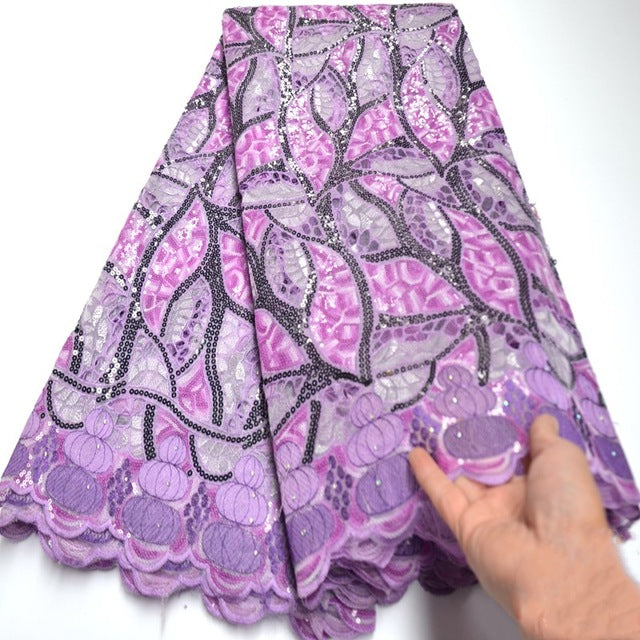 Luxury lilac african glitter lace fabric for party dress Swiss Handcut organza lace fabric with allover sequins 5yards mv262