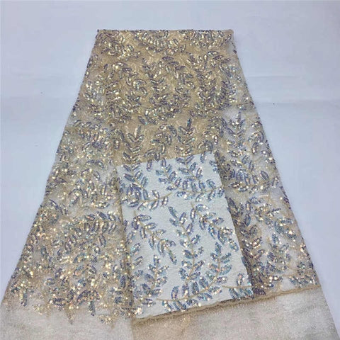 Image of Luxury wedding lace latest Leaf pattern 2020African sequince lace tulle lace fabric For Evening long Dresses