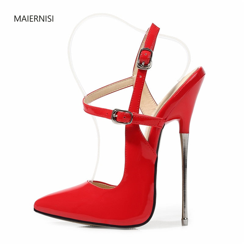 MAIERNISI New pattern Superior quality Super high heel Explosive money Nightclub ladies shoes 16CM Thin Heel Sexy 35-43 44