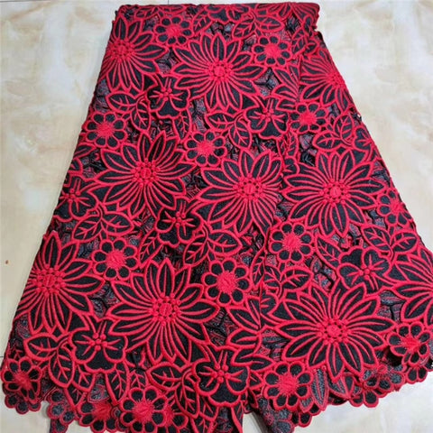 Image of MIQIER 2020 High Quality African nigerian tulle Lace Fabric Pure Cotton Embroidery fabric for sewing guipure cotton fabric Frenc