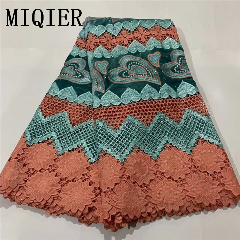 MIQIER 2020 High Quality African nigerian tulle Lace Fabric cotton fabric Embroidery nigerian dress Wedding Party Dress guipure