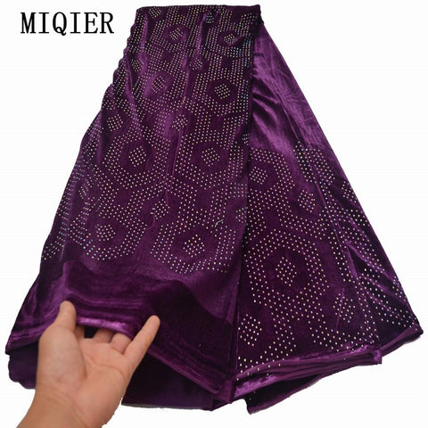 MIQIER 2020 High Quality African nigerian tulle Lace Fabric velvet lace fabric Embroidery Party Dress Sequins French Guipure