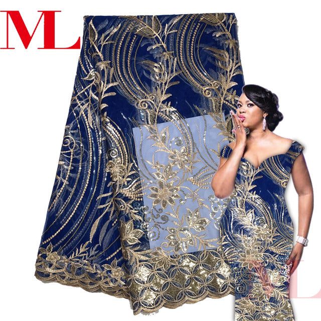 ML 5Yards 2018 Latest French Nigerian Laces Fabrics High Quality Sequins Tulle African Laces Fabric Wedding  French Tulle Lace