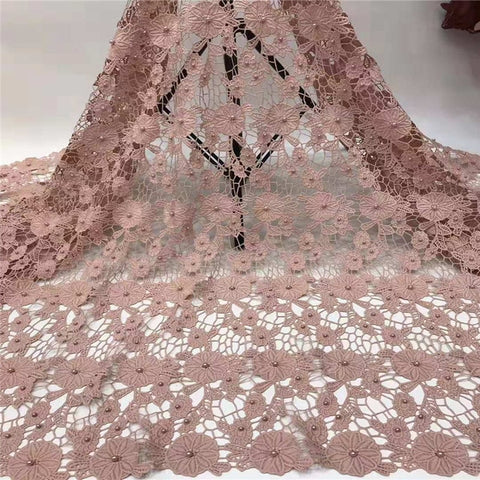 Image of Madison African Lace Fabric 2019 High Quality Guipure Sequins Tulle Nigerian Mesh Lace Fabrics Material For Wedding Dress