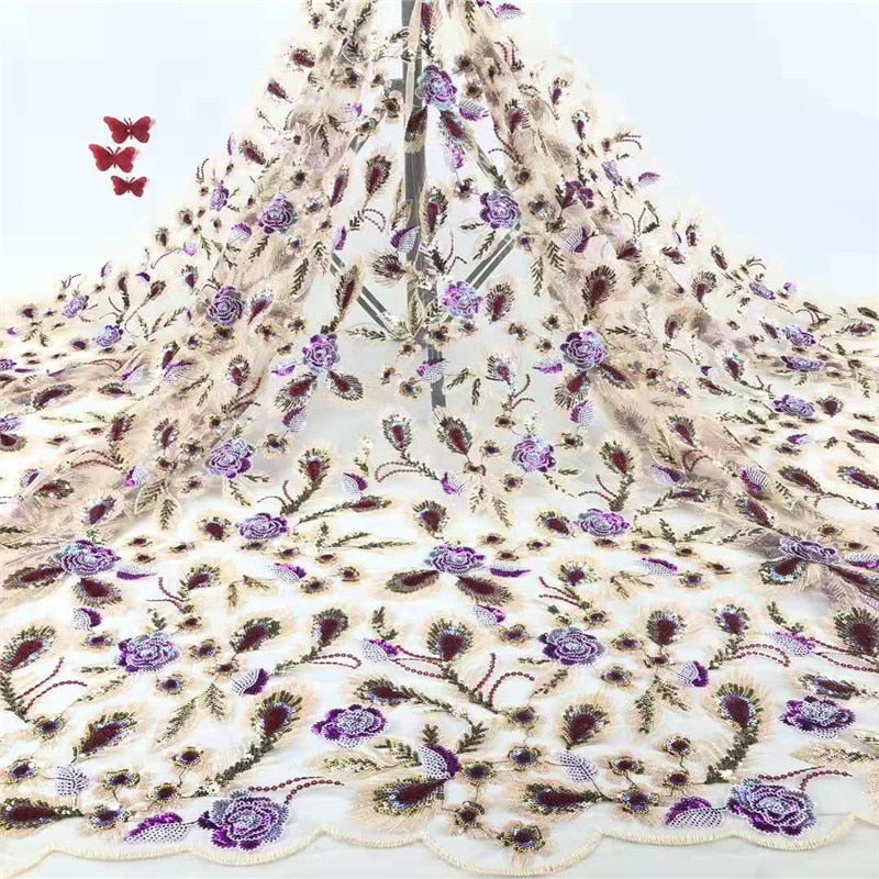 Madison African Lace Fabric Embroidered Nigerian Sequins Lace Fabric High Quality French Tulle Lace Fabric For Women Wedding