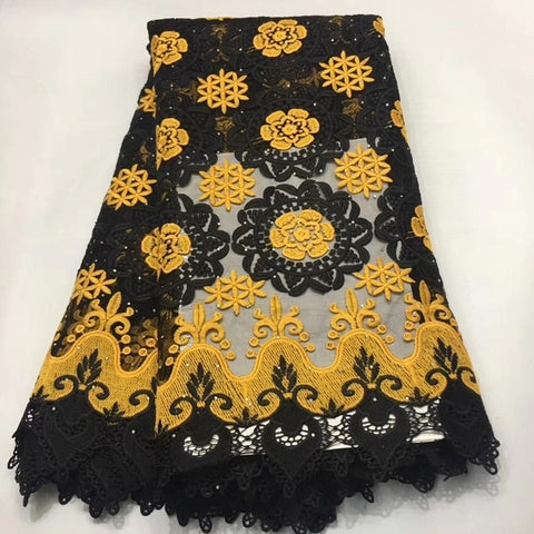 Image of Madison African Lace Fabric High Quality Guipure lace For Wedding Dress Cotton Lace With Stones Nigerian Lace Fabrics