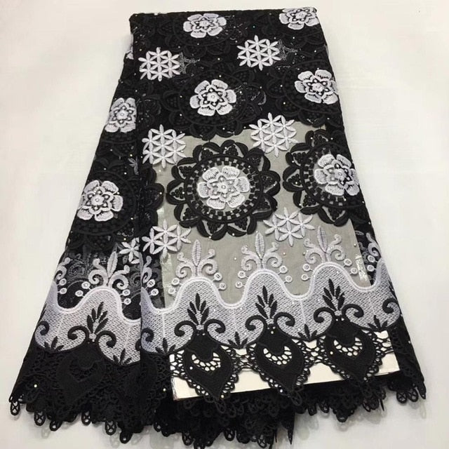 Madison African Lace Fabric High Quality Guipure lace For Wedding Dress Cotton Lace With Stones Nigerian Lace Fabrics