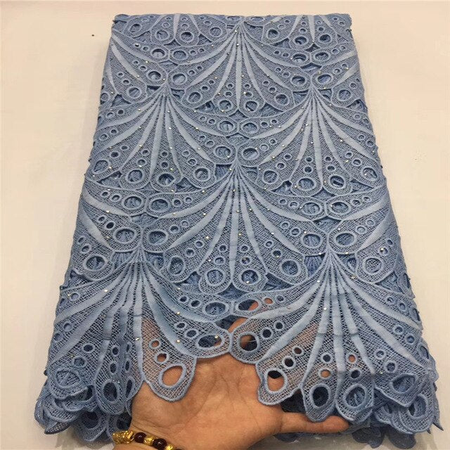Madison African Lace Fabrics 5yard Guipure Lace Fabric 2019 High Quality Nigerian Cord Lace Fabric For Wedding Dress