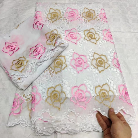 Image of Madison Cotton Lace Fabric High Quality Soft African Dry Cotton Lace Embroidery Swiss Voile Lace Fabric For Nigerian Women