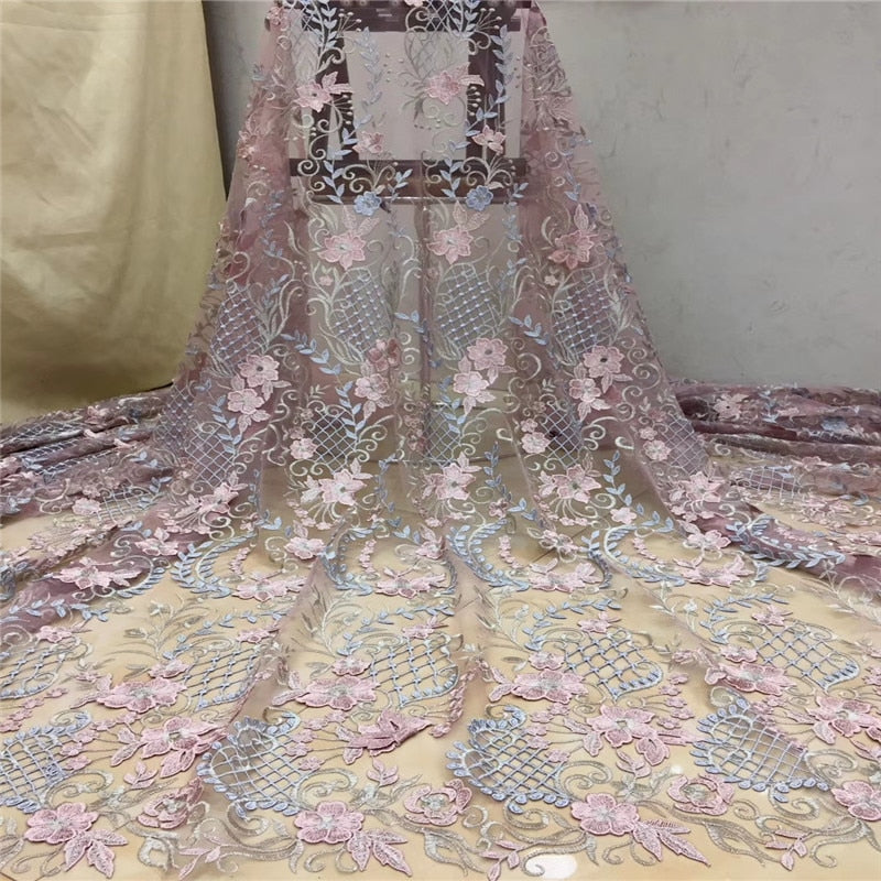 Madison Flower Lace Fabric 2019 High Quality Lace Nigerian Lace Fabric For Women Dress African Tulle Lace Material