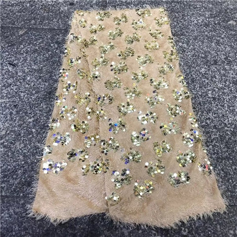 Image of Madison French net lace fabric 2019 latest african guipure lace fabric with embroidery Sequins mesh tulle lace fabric