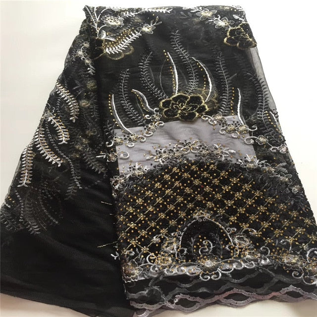 Madison Gold African Stones Lace Fabrics French Tulle Mesh Net Lace High Quality Sequence Fabric Nigerian Velvet Lace