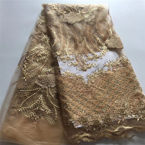 Image of Madison Gold African Stones Lace Fabrics French Tulle Mesh Net Lace High Quality Sequence Fabric Nigerian Velvet Lace