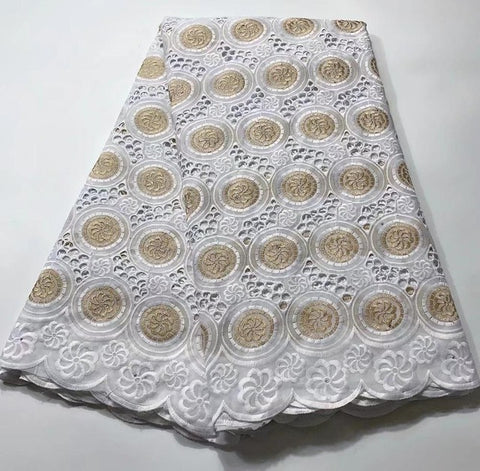 Image of Madison Hot Sale African Dry Lace Fabric Embroidery Dry Cotton Lace Fabric For Wedding Dress Nigerian Swiss Cotton Lace Fabric