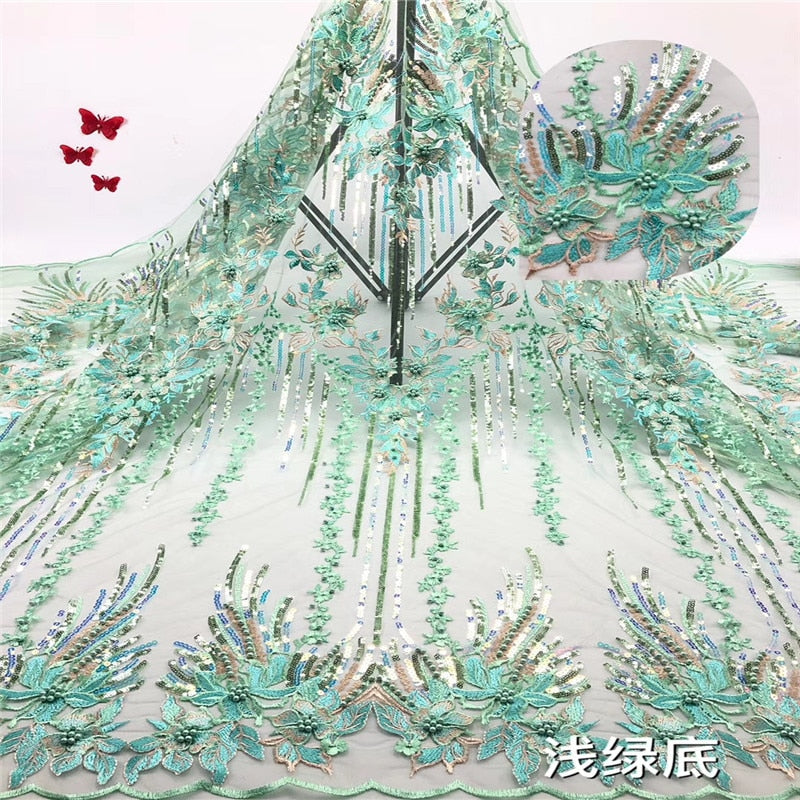 Madison Hot Sale Teal African Lace Fabric 2019 High Quality French Mesh Lace Fabrics with Sequins Lace Fabric for Party Dress