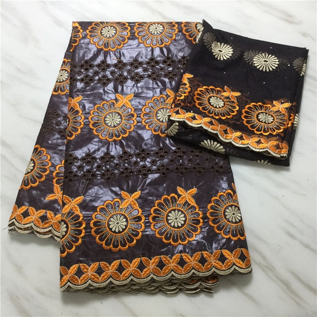 Madison Latest Africa Lace Fabric Embroidered Bazin Riche with Lace For Women Clothes 5 Yards+2 Yards Cotton Tulle Lace