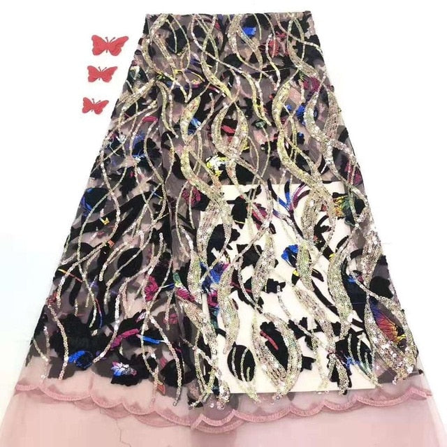 Madison Latest French Lace Fabric Fashion Seqins Lace Fabric For Nigerian Party Embroidery Tulle Lace African Lace fabric
