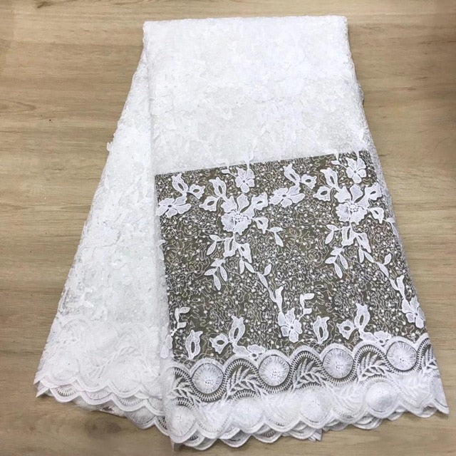 Madison Newest Nigerian Lace Fabric With White Color Sequins African Lace Fabric Soft French Lace For Ghana Wedding Dress