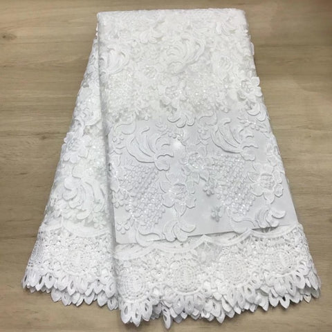 Image of Madison Newest Nigerian Lace Fabric With White Color Sequins African Lace Fabric Soft French Lace For Ghana Wedding Dress