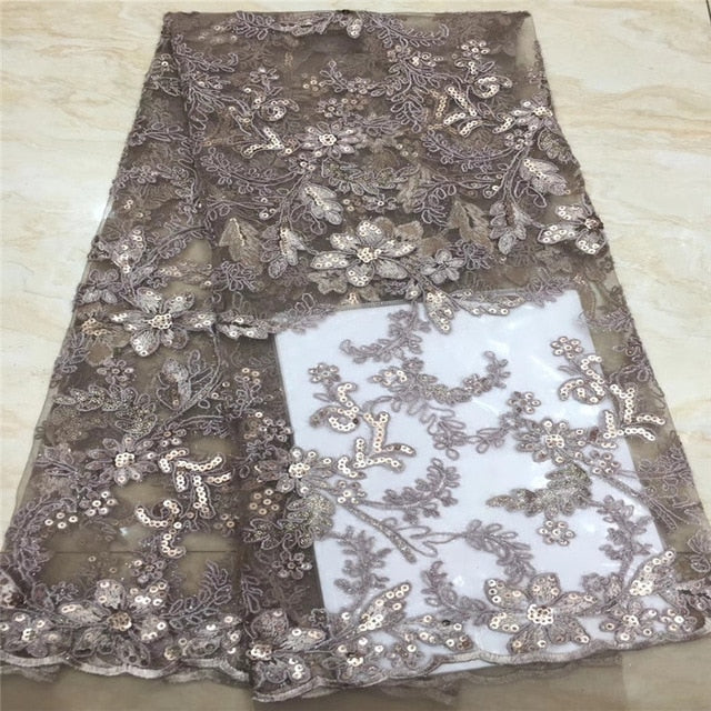 Madison Sew African French Sequins Lace Fabric 2019 High Quality Lace Nigerian Tulle Mesh Lace Fabrics For Wedding Dress