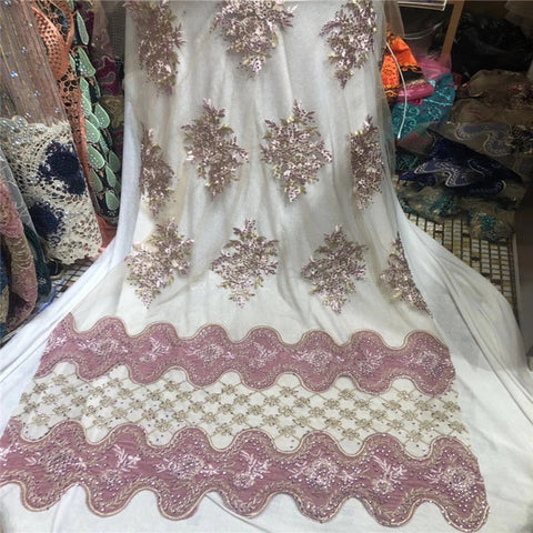 Image of Madison Velvet Lace Fabrics Stones Lace Fabric High Quality African Nigerian Tulle Mesh Lace for Women Dresses