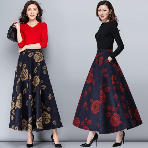 Image of Mom High Waist Warm Vintage Wool Maxi Skirt Womens Winter Plus Size Print Fllower Woolen Skirts Ladies Casual Skirt Saia Longa