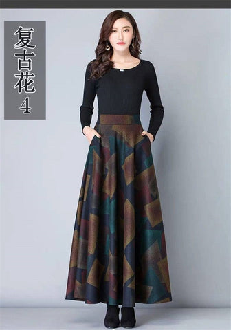 Image of Mom Plus Size Vintage High Waist Woolen Skirts Spring Winter 2019 Fashion Women Maxi Skirts Female Casual Office Long Streetwear