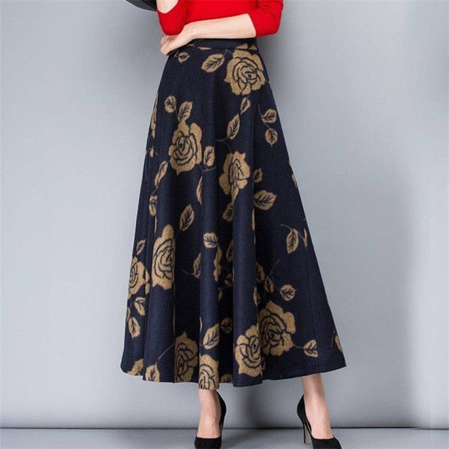 Mom Plus Size Vintage High Waist Woolen Skirts Spring Winter 2019 Fashion Women Maxi Skirts Female Casual Office Long Streetwear