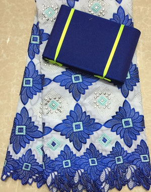 NAH003  blue Free Shipping !!! high quality african swiss voile lace matching aso oke headtie / fabric for wedding dress lace