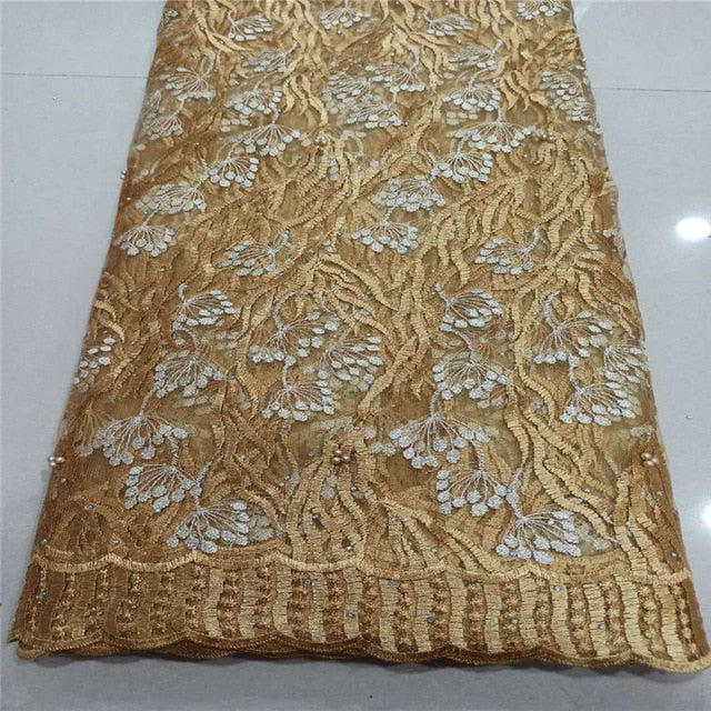 NEW High Quality 2020 Tulle sequins Beaded French Nigerian Lace Fabrics Pearls Embroidered Guipure African 3d Lace Fabric gold