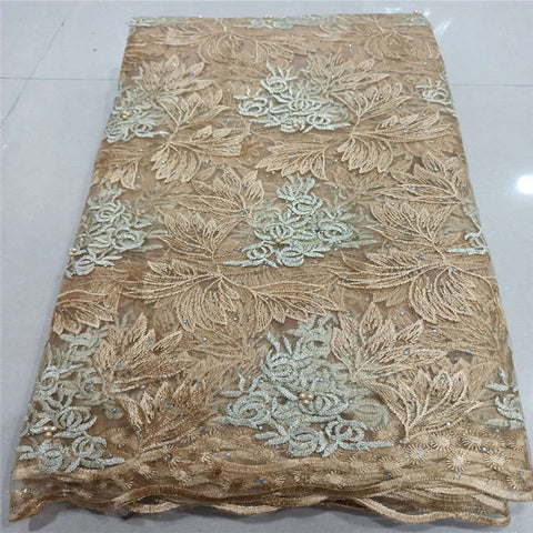 Image of NEW High Quality 2020 Tulle sequins Beaded French Nigerian Lace Fabrics Pearls Embroidered Guipure African 3d Lace Fabric gold