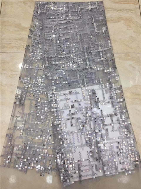 NEW fashion french lace fabric for nigerian party dress 5yards african net tulle lace with sequins         JIAXOC061