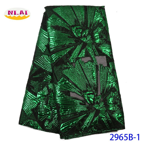 Image of NIAI African Lace Fabric 2019 French Net Lace New Designs Fabric High Quality Nigerian Tulle Lace Fabrics For Women XY2965B-1